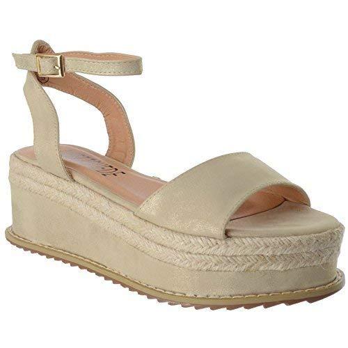 Scarpe Piattaforma Forma Cinturino alla Espadrille Miss Piatta Cuneo Dorato Gladiatore della Image Caviglia UK Chunky Sandali Donna Numeri UwZZOqzY