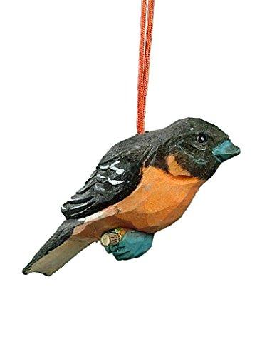 Songbird Christmas Tree Ornament - OnHoliday Small Carved Wood Robin Bird Song Bird Christmas Tree Ornament