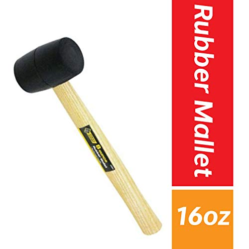 Rubber Mallet 16 oz, Hardwood, Double Faced Soft Mallet with Wooden Handle, Black