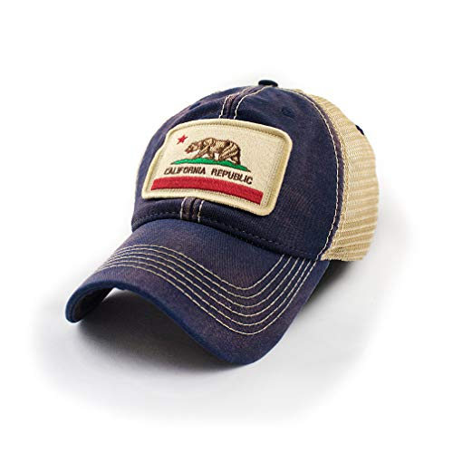 Cap Legacy - State Legacy Revival California Flag Patch Trucker Hat, Navy Blue