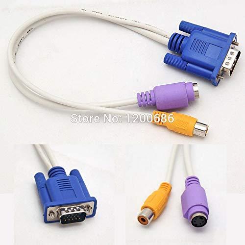 Calvas 15 Pin Sub-D VGA SVGA to RCA S-Video Adapter Converter Cable 2 Port Vga S-video