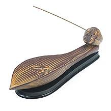 Monoshop Ceramic Incense Burner - Vintage Relief Lotus Leaf Incense Stick Holder Cone Ash Catcher Tray with Stable Base
