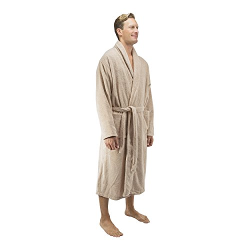 Comfy Robes Personalized Men's 16 oz. Turkish Terry Cotton Bathrobe, L/XL (OSFM) Tall Beige by Comfy Robes (Image #4)