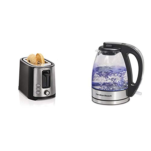 Hamilton Beach 2 Slice Extra Wide Slot Toaster, Black (22633) & Beach Glass Electric Tea Kettle, Water Boiler & Heater…