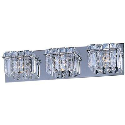 ET2 E23253-20PC Bangle 3-Light Bath Vanity, Polished Chrome Finish, Crystal Glass, G9 Xenon Bulb, 24W Max., Damp Safety Rated, 3000K Color Temp., Standard Triac/Lutron or Leviton Dimmable, Shade Material, 1500 Rated Lumens (Light Ada Three Wall Mount)