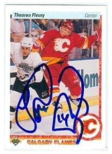 Autograph 212324 Calgary Flames Sc 1991 Upper Deck No. 47 Theo Fluery Autographed Hockey Card