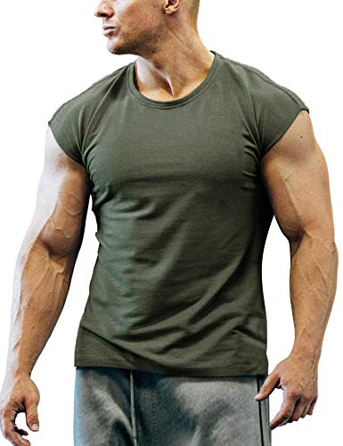 (Coofandy Men's Gym Workout T Shirt Short Sleeve Muscle Cut Bodybuilding Training Fitness Tee Tops)