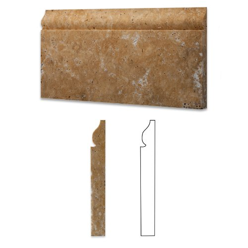 Gold / Yellow Travertine Honed 6 X 12 Malibu Baseboard Trim Molding - Box of 5 Pcs.