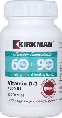 Kirkman 60 to 90 Vitamin D-3 4000 IU - Hypoallergenic    120 vegetarian capsules    Vitamin D for seniors supports bone and immune system health    Gluten/Casein Free