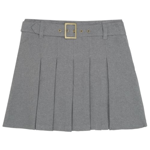 French Toast School Uniforms Girls Pleated Scooter with Square Buckle Belt X9059 - Gray, 4