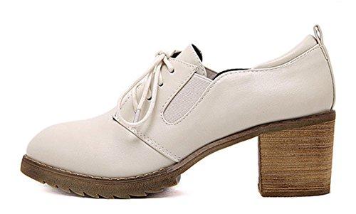 Aisun Kvinna Vintage Spetsig Tå Slitage På Arbets Kontor Staplade Mitten Klackar Klä Snörning Oxfords Skor Beige