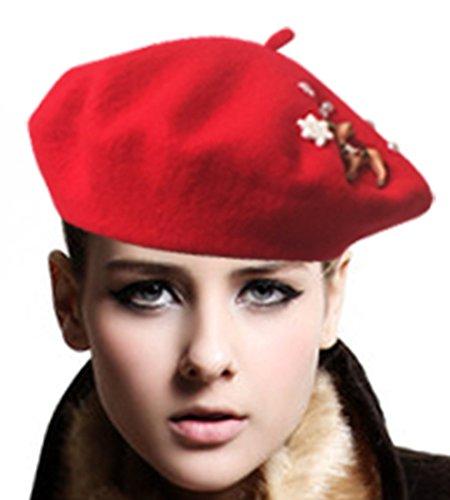 Deer God Costume (Deer Snowflake Perals Trimmed Womens Winter Cap Beret Crochet Hat)