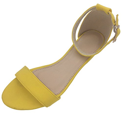 Sandals Dress Yellow (Womens Low Heel Wedge sandals Open Peep Toe Side Cut Out Ankle Buckle Cushioned Strap Summer Suede Shoes)