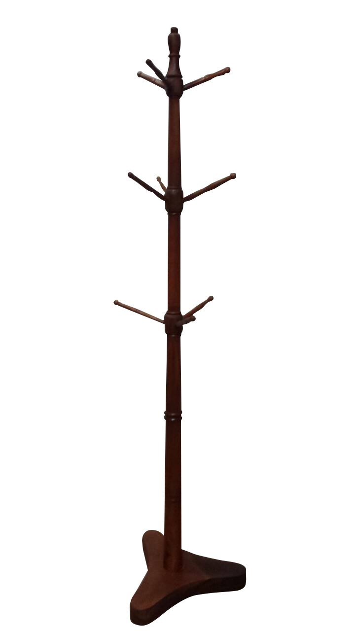 Urnporium Wood Coat Rack Stand with Solid Mahogany Base