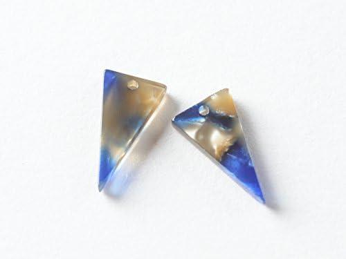 べっ甲柄パーツ ブルー 宇宙カラー 三角C 1ペア(2個) ピアス イヤリング ハンドメイド パーツ 材料