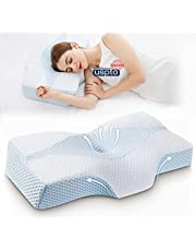 Side Sleeper Contour Memory Foam Pillow, Mkicesky Orthopedic Sleeping Pillow, Ergonomic Cervical Pillow for Neck Pain with Washable Hypoallergenic Pillowcase for Back, Stomach Sleepers (Queen Size)