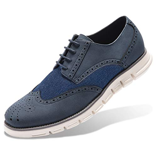 Men's Oxford Sneaker Dress Shoes-Stylish Wingtip Brogue Oxfords Casual Shoes Work Gifts Blue 9 ()