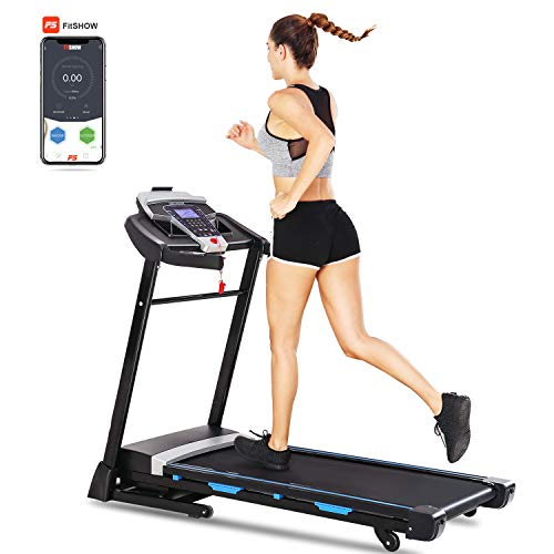 ANCHEER APP Control Treadmill, (0-15%) Incline, 9 MPH Max Speed, 3.25HP Power, 17'' Wide Tread Belt, LCD Screen, Cup Holder & Wheels, Foldable Design (Black)