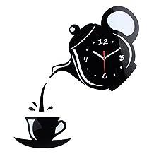 Wall Clock Mirror Effect Coffee Cup Shape Decorative Kitchen Wall Clocks Living Room Home Decor (Black)