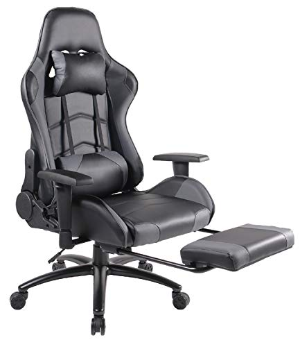 Gaming Chair Racing Office Chair High Back PU Leather Computer Desk Executive and Ergonomic Swivel Chair with Headrest, Lumbar Support and Footrest
