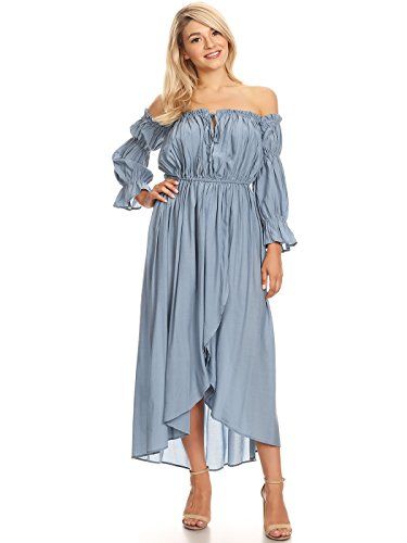 Anna-Kaci Womens Casual Boho Long Sleeve Off Shoulder Renaissance Peasant Dress, Blue, Large -