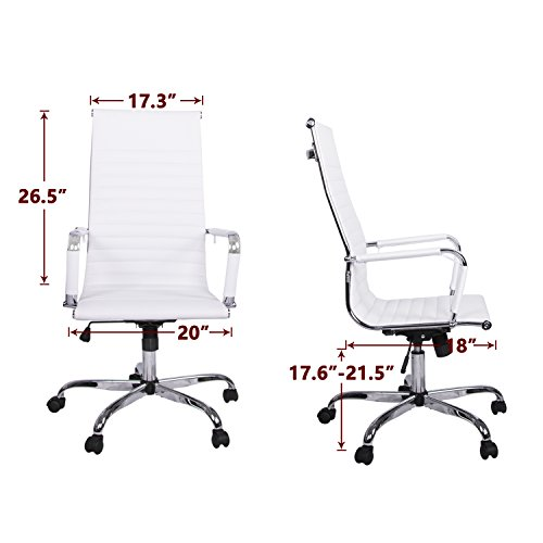 LIMIT SALES Walcut High Back Modern Upholstered 360° Swivel Tilt Height Adjust Ergonomic Ribbed High Back Executive Office PU Leather Computer Desk Chair (white)