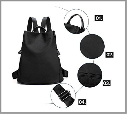 Tibes Mochila escolar mochila ligera impermeable para las mujeres Negro