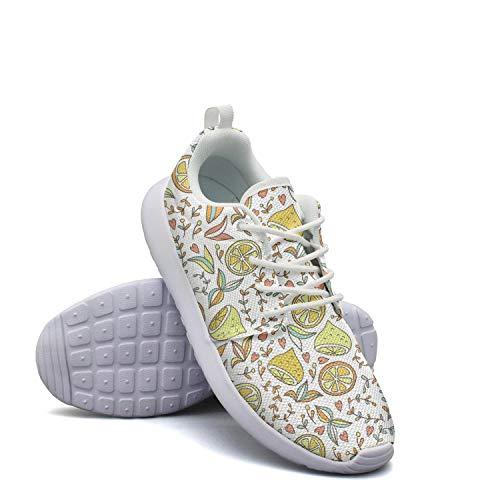 Lemon Baseball Peel (CHALi99 Casual Female Youth Lightweight Mesh Shoes Lemon and Flowers Sneakers Walking Quick Dry)