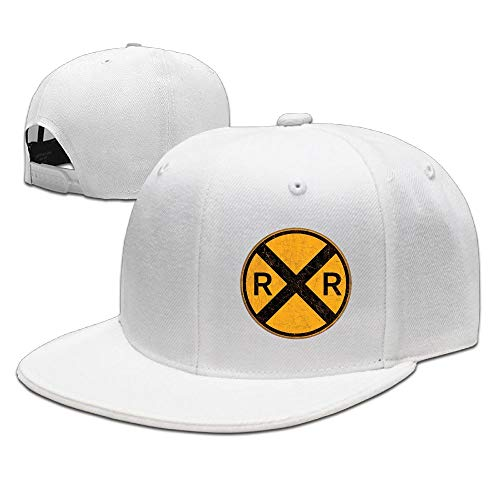 Vintage Style Railroad Crossing Round Metal Sign Plain Adjustable Snapback Hats Men's Women's Baseball Caps -