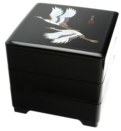 Kotobuki 3-Tiered Jubako Lacquer Box, Black with White Cr...