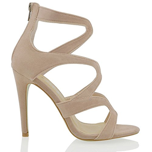 Essex Glam Donna Stiletto Tacco Alto Cut-out Falso In Pelle Scamosciata Strappy Party Shoes Nude In Finta Pelle Scamosciata
