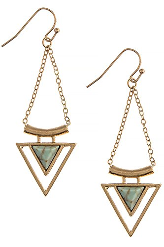 Tahitian Costume Shells (BAUBLES & CO FAUX STONE TRIANGLE DROP EARRINGS (Gold/Turquoise))