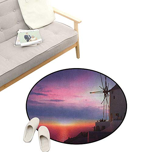 Windmill Round Area Rug Non-Slip ,Beautiful Oia Village Santorini Island Greece Colorful Sky Idyllic Aegean, Living Room Bedroom Coffee Table 23