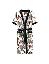 FOTEE Kimono Mujer Sexy, Kimono Vestido Albornoz Dama Cuello en V Satén camisón Suave Camisones Albornoz Novia Kimono Mujer Sexy,Green_M