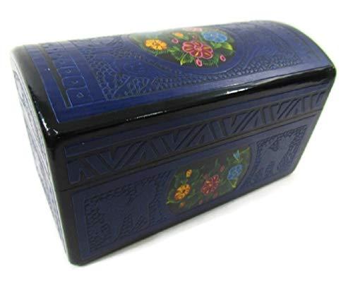 El Relicario de Los Tesoros Hand Crafted INCISED STASH Jewelry Trinket Box OLINALA Mexico INCISED Rectangular Chest (Black-Blue Garden)