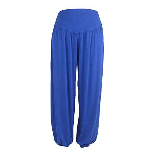 iYBUIA Womens Solid Elastic Loose Casual Modal Cotton Soft Yoga Sports Dance Harem Pants(Blue,M)