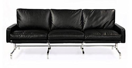 Kardiel PK31 Style Modern 3 Seat Sofa, Black Aniline Premium Leather