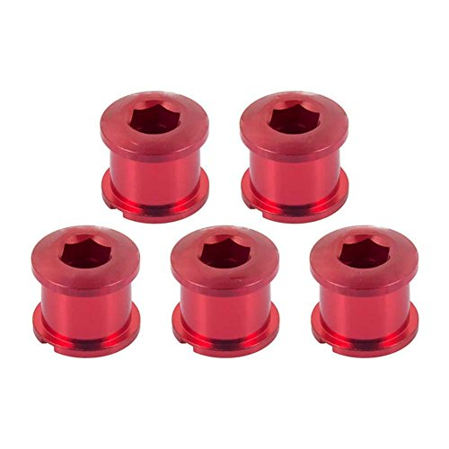 BleuMoo 5Pcs MTB Road Bike For Crank Single/Double Gear Chainring Fixed Bolt (red, S)