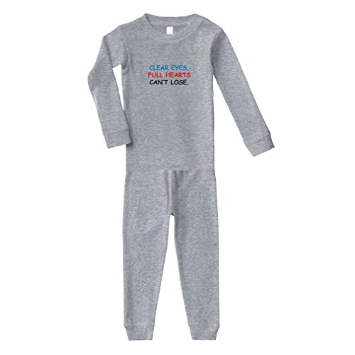 Cute Rascals Clear Eyes, Full Hearts Can't Lose. Cotton Long Sleeve Crewneck Unisex Infant Sleepwear Pajama 2 Pcs Set Top and Pant - Oxford Gray, 12 Months
