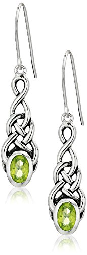 Sterling Silver Genuine Peridot Celtic Knot Linear Drop Earrings (Knot Peridot Celtic)