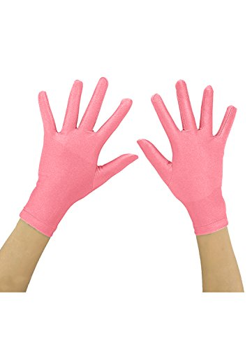 Ensnovo Adult Wrist Length Lycra Spandex Full Finger Stretchy Short Gloves Pink, M - Lycra Spandex Gloves