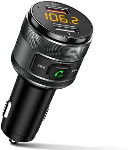 IMDEN Bluetooth FM Transmitter for Car, QC3.0 Wireless Bluetooth FM Radio Adapter Music Player FM Transmitter / Car Kit with Hands-Free Calling and 2 USB Ports Charger Support USB Drive
