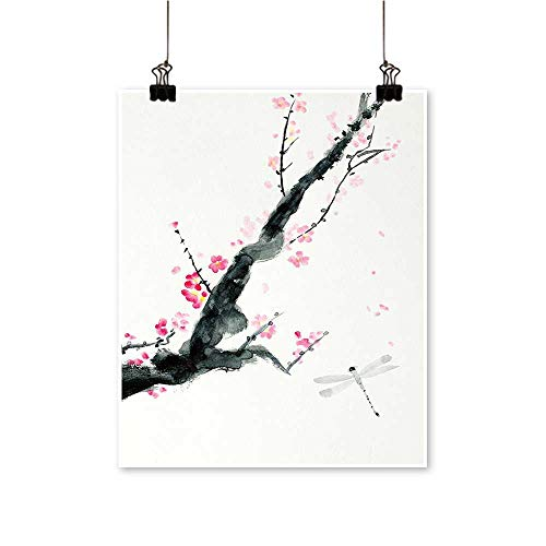 Hanging Painting Pink Cherry Blossom Sakura Bud and Drag Fly Dramatic isan Jungle Rich in Color,12