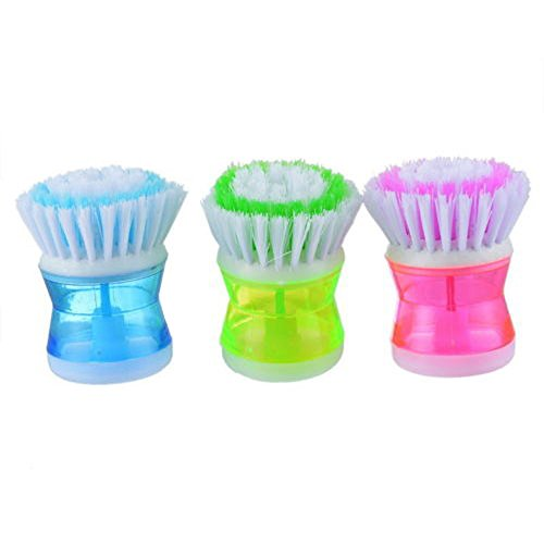 Mromick Kitchen Washing Utensils Pot Dish Brush with Washing Up Liquid Soap Dispenser
