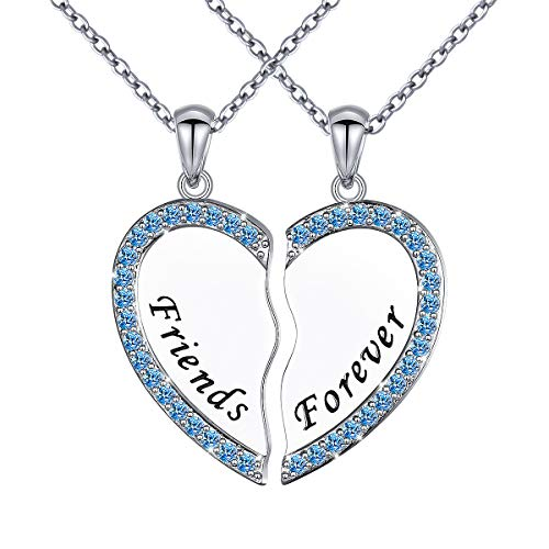 DAOCHONG S925 Sterling Silver Best Friend Forever Necklaces Heart 2 Piece Gifts Women Teen Little Girls Friendship BFF Pendant Necklace Set