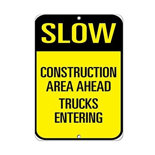 Traffic Sign Posters - Liz66Ward Slow Construction Area Ahead Trucks Entering Traffic Sign,Funny Aluminum Metal Sign,Warning Sign,Tin Sign Plate,Outdoor Yard Sign,8x12