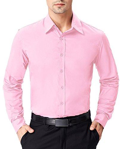 (PAUL JONES Men's Regular Fit Solid Long Sleeve Dress Shirt, Pink)