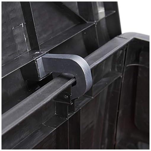 Deck Boxes KOOLWOOM Deck Box, 120-Gallon Patio Outdoor Plastic Storage 47.2″ L x 24.01″ W x 24.80″ H Waterproof Black outdoor deck boxes