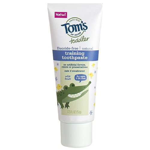 Tom's of Maine Toddler's Fluoride-Free Natural Toothpaste, Mild Fruit 1.75 oz (Pack of 2)