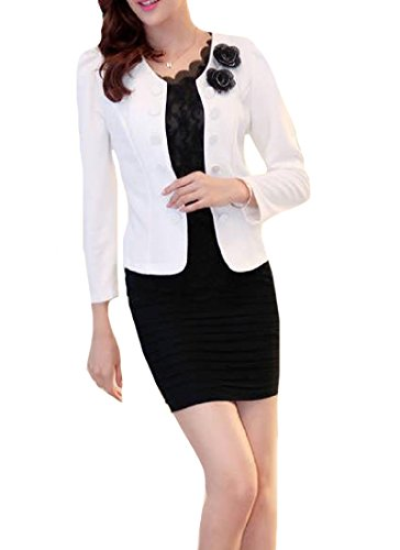 Tootless-Women Simple Trend Cardi Bow-Knot Double-Breasted Blazer White (Coat White Double Breasted Knots)